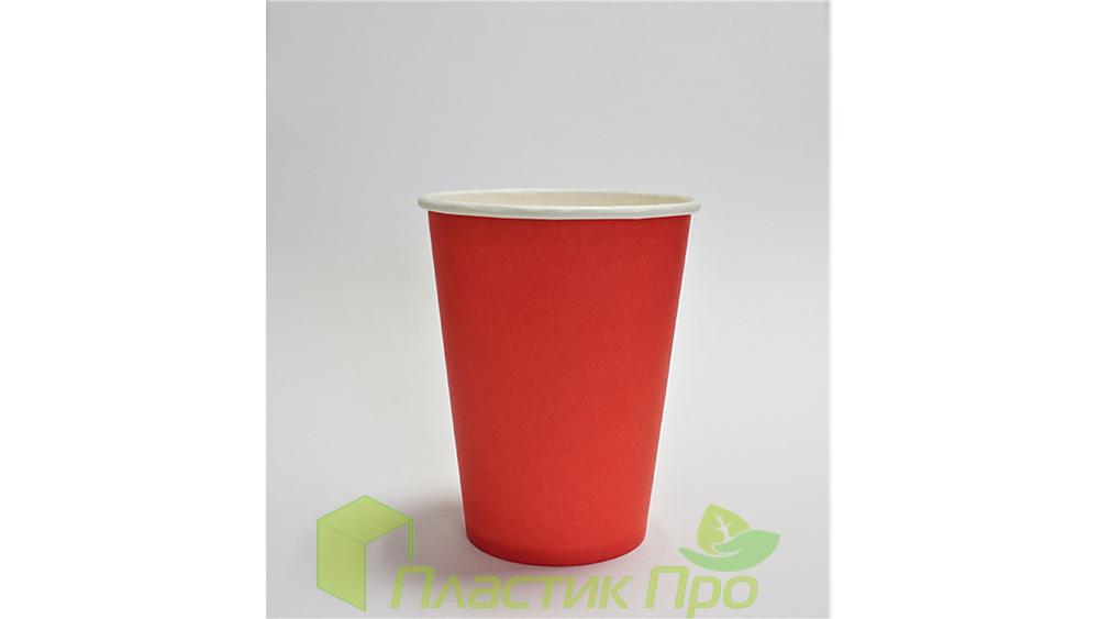 Бумажный стакан 300 мл красный