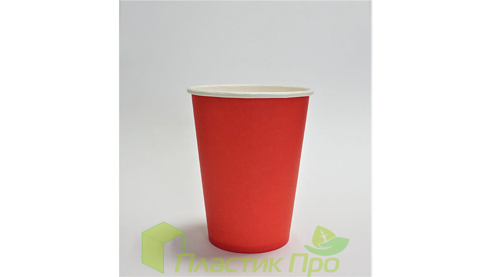 Бумажный стакан 250 мл красный